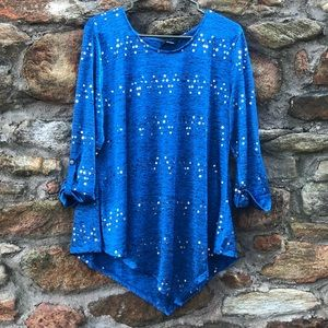 LIKE NEW Blue sequin New Directions Blouse